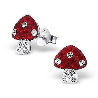 Sterling Silver and Crystal Toadstool Stud Earrings