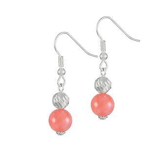 Eternal Collection Debutante Coral Pink Semi Precious Silver Tone Drop Pierced Earrings