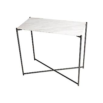Gillmore White Marble Small Console Table With Gun Metal Cross Base