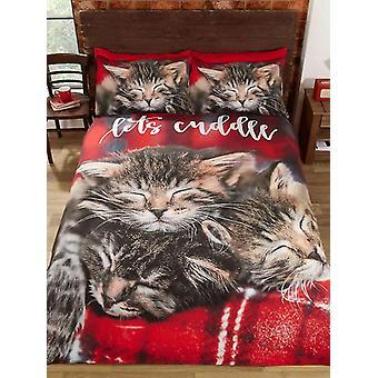 Cuddle gatos capa de edredão e fronha conjunto