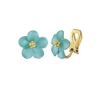 Eternal Collection Anemone Turquoise Enamel Gold Tone Stud Clip On Earrings