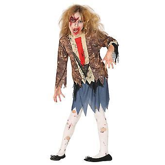 Meisjes eng Zombie Halloween fancy dress kostuum