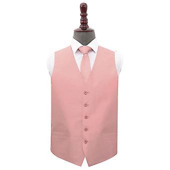 Pfirsich rosa Schlichte Shantung Hochzeit Weste & Krawatte nise Set