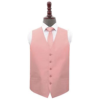 Peach rosa Plain shantung bröllop väst & amp; Tie set