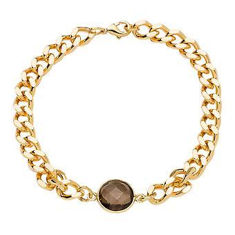 Gemshine armbånd arm kjede med røykfylt kvarts gemstone høy kvalitet gullbelagt