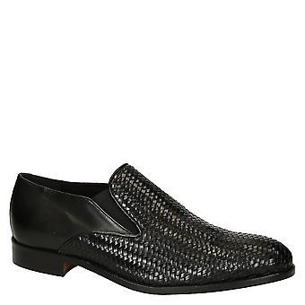 Leonardo kengät miehet ' s käsintehdyt gussets Loaferit kengät musta kudottu nahka