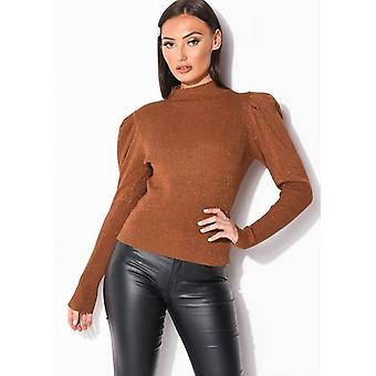 Puff Sleeve Metallic Ribbed Knit High Neck Jumper Top Brown
