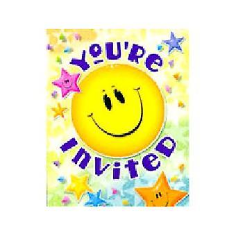 Smiley Sterne Party-Einladungen.