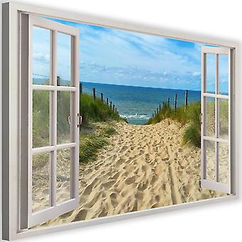 Canvas, Picture on canvas, window, descent to the beach