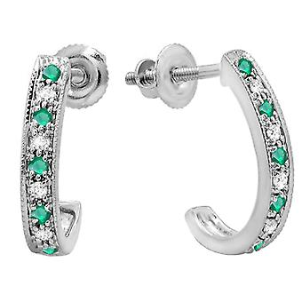 0.20 Carat (ctw) 10K Round White And Emerald Diamond Ladies Hoop Earrings, White Gold