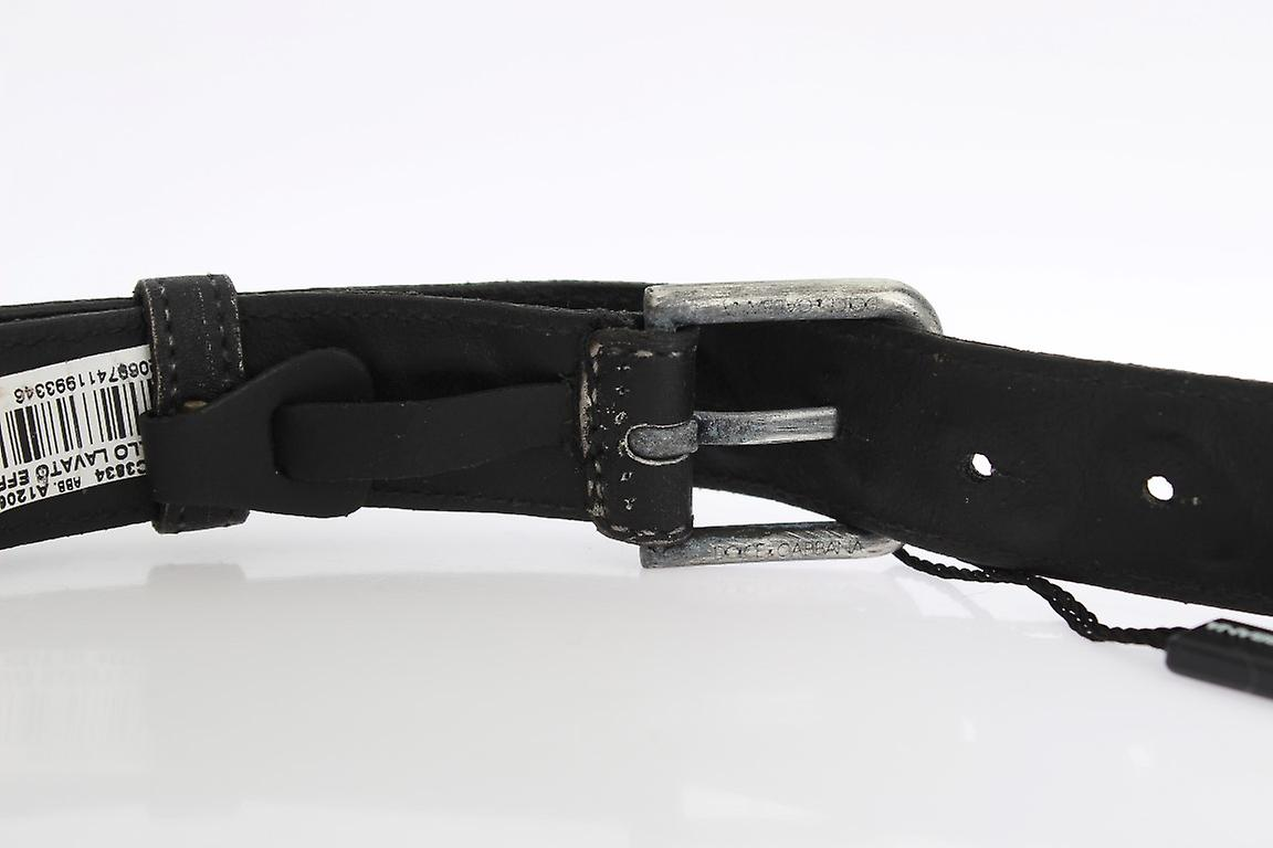 Black Laced  Leather Silver Buckle Belt