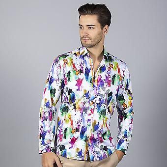 CLAUDIO LUGLI Splash Floral Print Mens Shirt