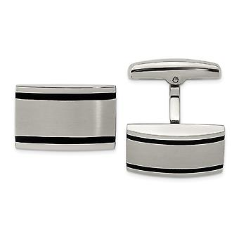 Stainless Steel Brushed and Polished Black Rubber Rectangle Cuff Links Jewelry Gifts for Men