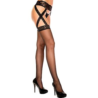 Suspender Belt With Attached Stockings-Black