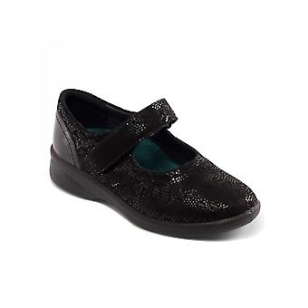 Padders Sprite 2 Ladies Leather Extra Wide (3e/4e) Shoes Black Floral