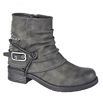 Cipriata Concetta Ladies Faux Nubuck Star Studded Ankle Boots Grey