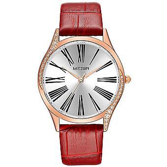 Megir Ladies Round Quartz Analogue Luxury Watch Rose Gold Watches Red Leather