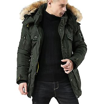 Allthemen mannen ' s Solid verdikt warme afneembare hoed bont kraag gewatteerde jas