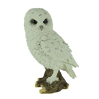 White Snowy Owl Perched On Branch Statue