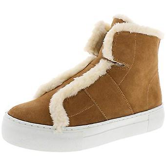 DKNY Womens Mason Suede Faux Fur High Top Sneakers Tan 10 Medium (B,M)