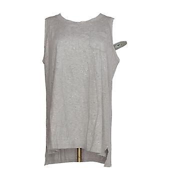 Isaac Mizrahi Live! Kvinder ' s top Soho scoop hals lomme tank grå A290890