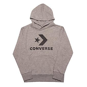 Junior Boys Converse gestapelt Wordmark Fleece Hoody In grau- gerippte Manschetten und