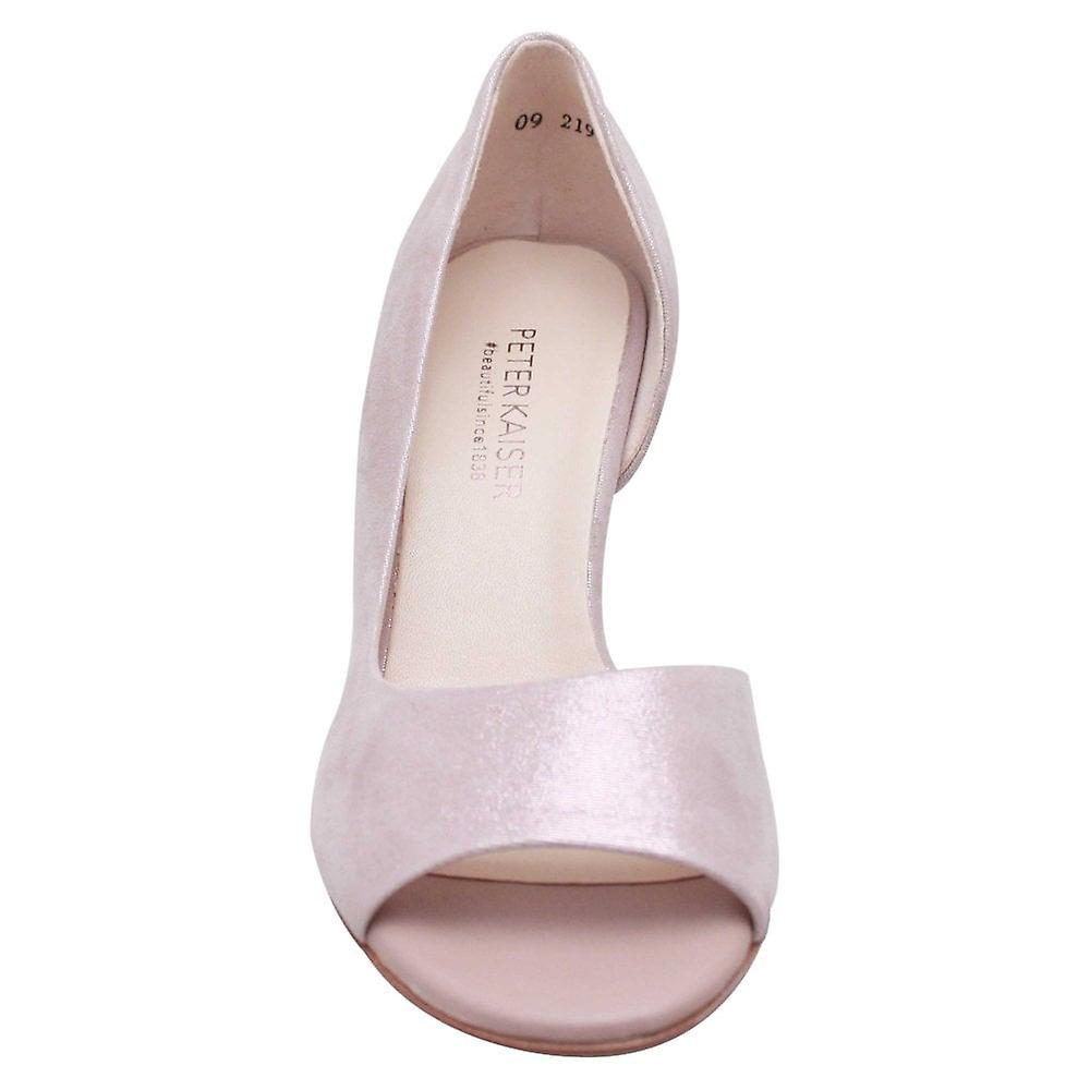 Peter Kaiser Mauve Peep Toe Side Out High Heel Court Shoes
