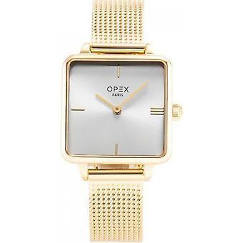 Opex OPW048 Watch - SQUARE Steel Bracelet Dor Bo tier Steel Dor Steel Women