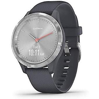 Garmin Vivomove 3S Hybrid Smartwatch with Real Watch Hands and Hidden Touchscreen Display - Granite Blue Silicone with Silver Hardware