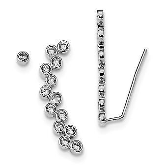 925 Sterling Argento Rodio placcato CZ Cubic Zirconia Simulato Diamante 1 Ear Climber e 1 Orecchini Stud Misure 32x5.8