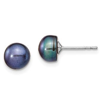 925 Sterling Silber Rhod Plat 6 7mm schwarze Perle baumeln Halskette Ohrringe Set Schmuck Geschenke für Frauen
