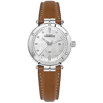Michel Herbelin 14288-AP89GO Women's Newport Brown Strap Wristwatch