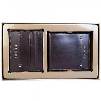 Ted Baker Taglee Black Leather Wallet & Card Holder Gift Set