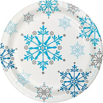 Small Snowflake Frozen Paper Party Plates Blue and White x 8
