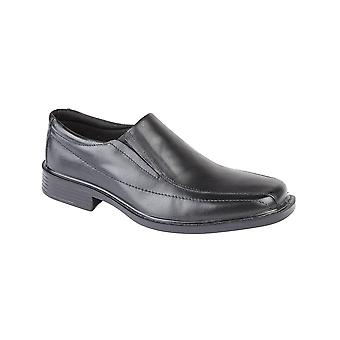 Roamers Black Leather Twin Gusset Panel Casual Shoe