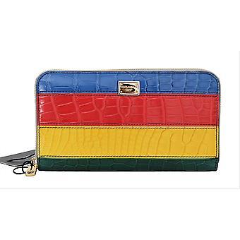 Dolce & Gabbana Multicolor Alligator Crocodile Leather Continental Wallet