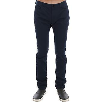 Costume National Blue Cotton Stretch Slim Fit Pants