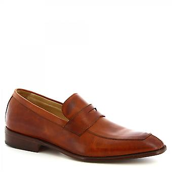Leonardo Shoes Men's handmade classy college loafers shoes brown calf leather