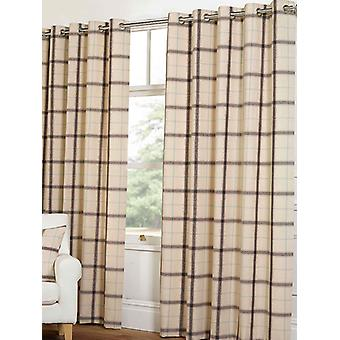 Belle Maison Lined Eyelet Curtains, Plaid Check, 90x108 Natural