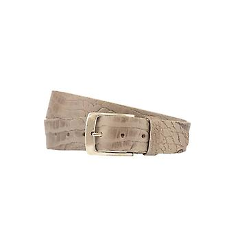 Luxury Grey Leather Men's Belt With Croco Structure