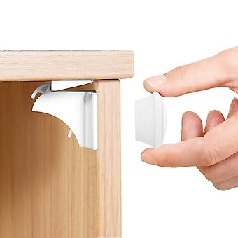 Magnetic Safety Locks For Children - Cupboard Child Locks Child Safety Locks Magnetic 6 Locks 2 Keys Adhesive - No Drilling !