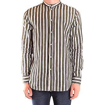 Paolo Pecora Ezbc059058 Men's White/brown Cotton Shirt