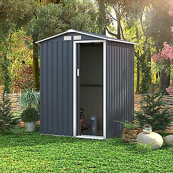 Charles Bentley 4.9ft x 4.3ft Metal Storage Shed Navy Grey Small Apex H186 x W150 x D130 cm Steel Structure Durable