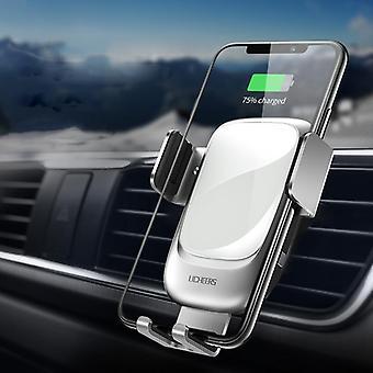 Licheers metal glas 10w Qi trådløs oplader infrarød sensor auto-fastspænding luft udluftning bil telefon holder til 4,0 tommer - 6,5 tommer smart telefon