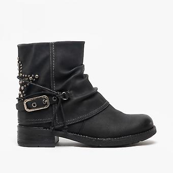 Cipriata Concetta Ladies Faux Nubuck Star Studded Ankle Boots Black