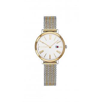 Tommy Hilfiger Ladies Round Silver Dial 2 Colour Mesh Bracelet Watch 1782055
