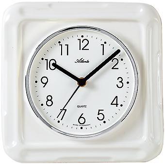 Atlanta 6009 kitchen clock wall clock kitchen quartz analog ceramic watch white ceramic square
