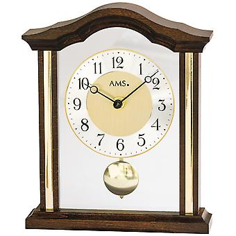 AMS 1174/1 Table clock Quartz with pendulum analog wood walnut colors with glass