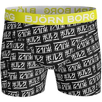 Bjorn Borg Japanin Logo Print Boxer Trunk, Musta/sitruuna
