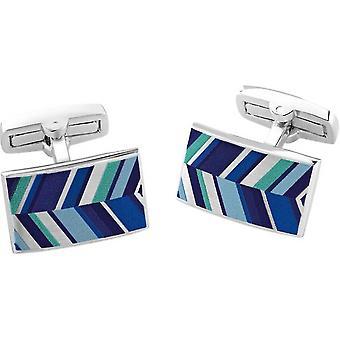 Duncan Walton Russet Luxury Enamel Chevron Cufflinks - Blue